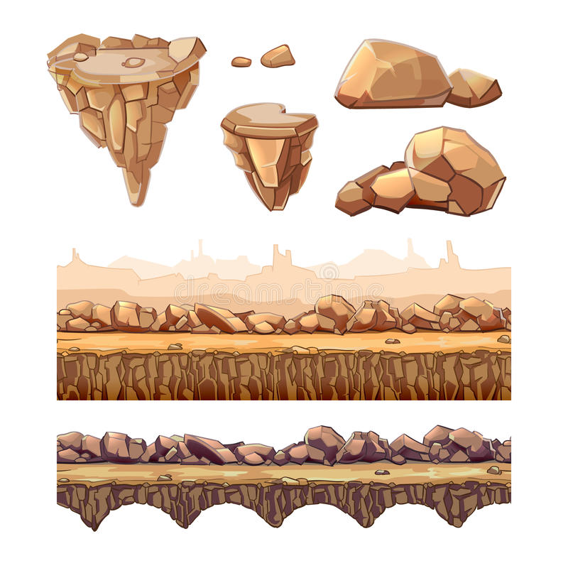 Piedras y puente inconsútiles de la historieta para el diseño de juego ilustración del vector