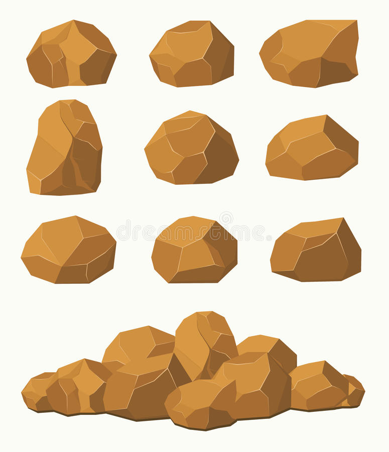 Piedras y rocas, cantos rodados marrones de las piedras stock de ilustración