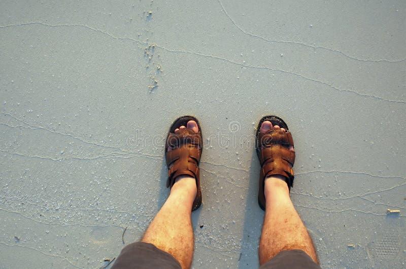 Pieds dans la plage photo libre de droits