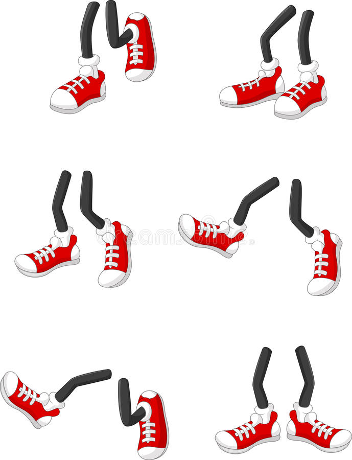 Pieds de marche de bande dessinée sur des jambes de bâton dans diverses positions illustration libre de droits