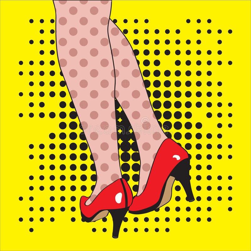 Pieds femelles dans des chaussures rouges sur un fond jaune illustration de vecteur