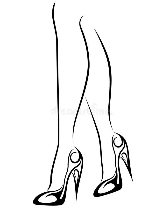 Pieds femelles gracieux dans des chaussures stylisées avec des talons hauts illustration stock