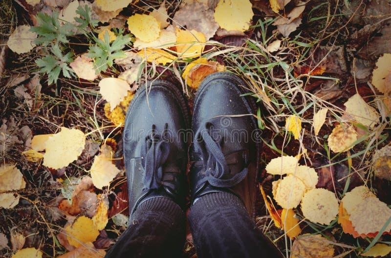 Pieds se tenant sur des feuilles d'automne photos libres de droits