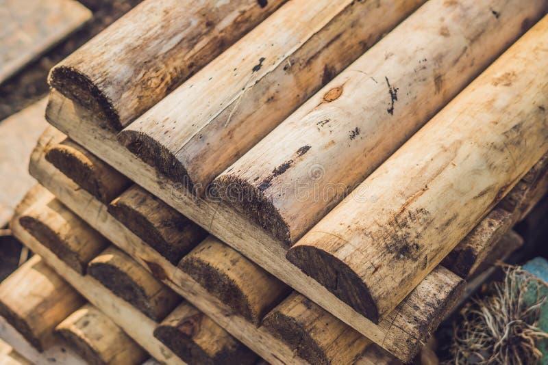 Piegato in faggio beige accatastato di legno imbarca, backgroun delle barre irregolari fotografia stock