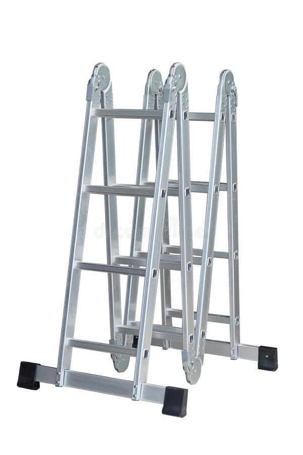 Piegatura pieghevole In posizione aperta su sfondo bianco scale comode, peso leggero, queste scale si piegano in un fascio compat immagine stock libera da diritti