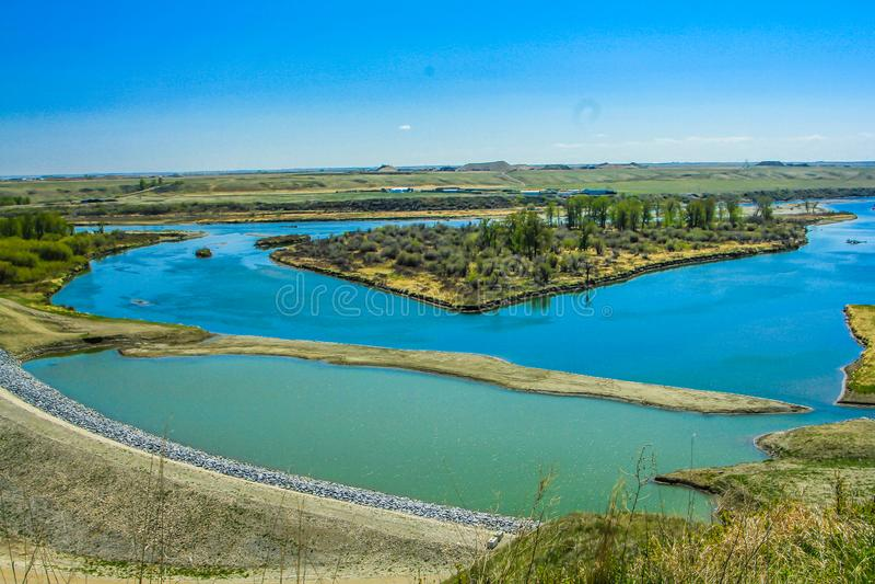 Pieghi il fiume di estate, il parco provinciale di Wyndham/Carsland, Alberta, Canada fotografia stock