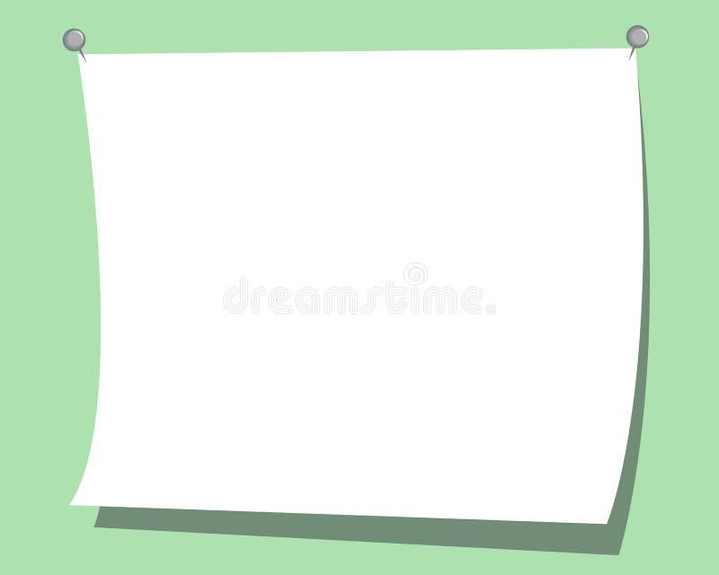 Pieghi il foglio bianco bianco di carta su fondo verde royalty illustrazione gratis