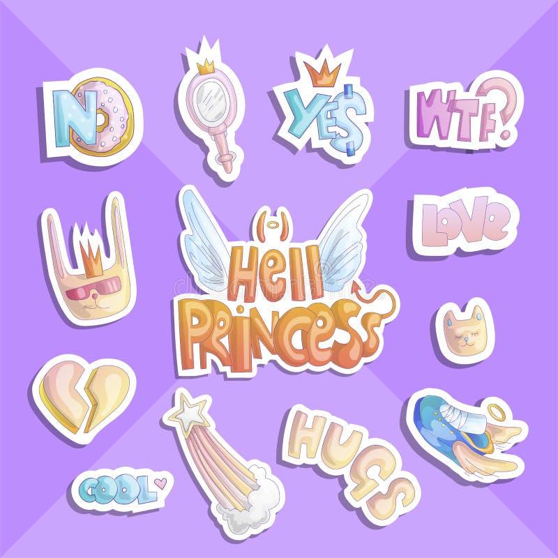 Piekła princess majcheru kolekcja Set wektorowi śliczni princess majchery i ikony - gwiazda, pączek, sneakers, kot, serce i royalty ilustracja
