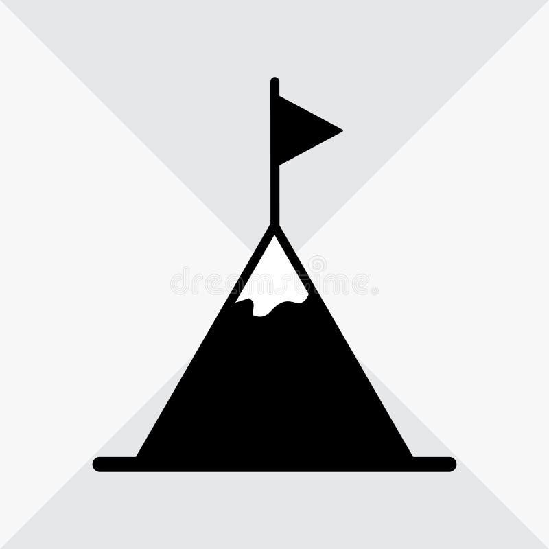 Piek, bergbovenkant met vlag zwart-wit pictogram Vector vector illustratie