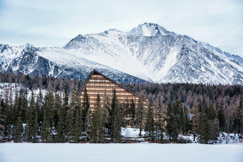 Piek en hotel Patria in Strbske-pleso, Slowaakse republiek stock afbeelding
