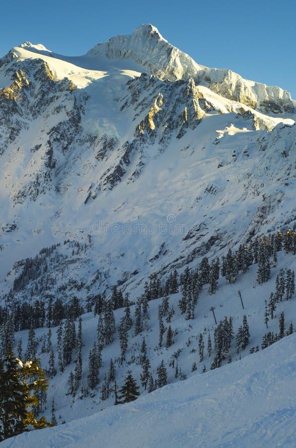 Piek van onderstel Choc Shuksan van MT wordt bekeken die Baker Ski Area stock afbeelding