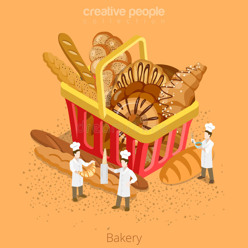 Piekarni ciasta świeży koszykowy pojęcie Płaski 3d isomet ilustracja wektor