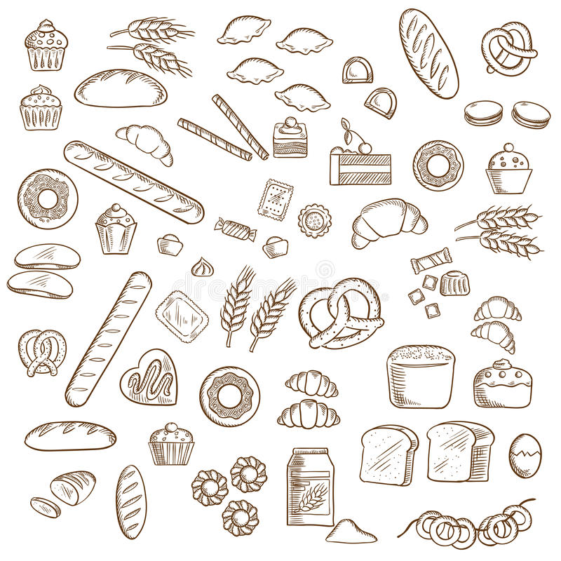 Piekarni, ciasta i ciasteczka nakreślenia, royalty ilustracja