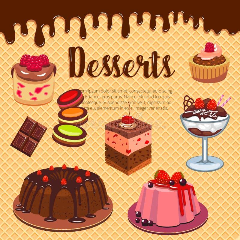 Piekarni ciasta sklepowych deserów wektorowy opłatkowy plakat ilustracji