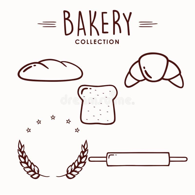 Piekarni i deseru ikony set, kolekcja, logo, znak, Kreskowa sztuka, emblemat, Płaski Wektorowy projekta set ilustracji