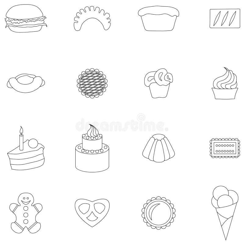 Piekarni ikony ustawiać, cienki kreskowy styl ilustracji
