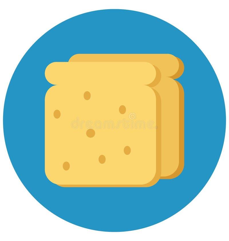 Piekarni jedzenie, chleb Odizolowywał kolor Wektorową ikonę która może łatwo redagować lub modyfikująca royalty ilustracja