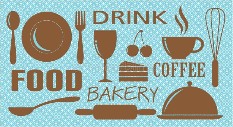 piekarni kawowy projekta napoju jedzenie ilustracja wektor