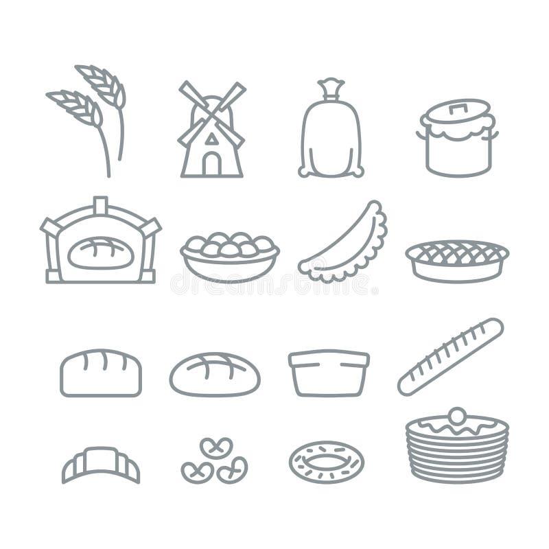 Piekarni kreskowe ikony Chleb i baguette Jedzenie ciasto Bliny a ilustracja wektor