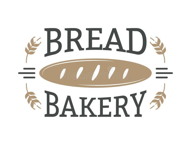 Piekarni odznaka i chleba loga ikony nowożytny stylowy wektor royalty ilustracja