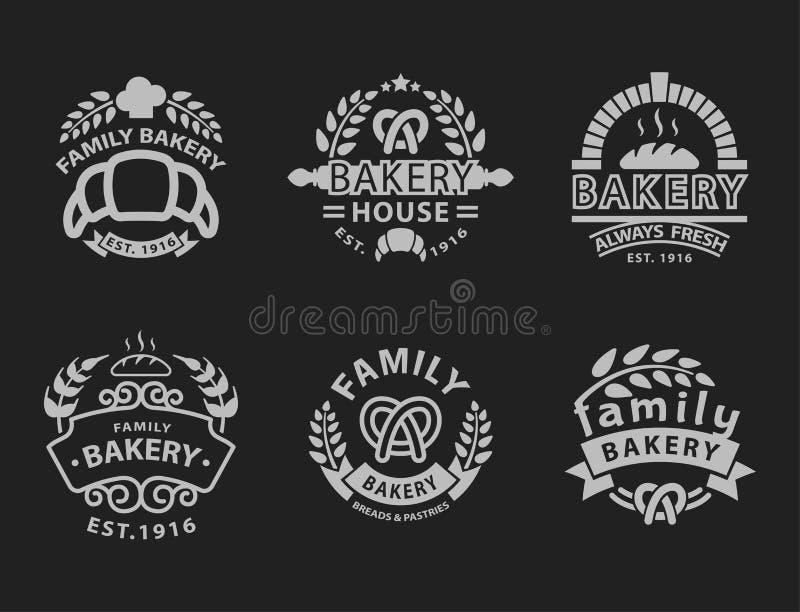 Piekarni odznaki ikony mody etykietki projekta nowożytny stylowy czarny biały pszeniczny wektorowy karmowy element odizolowywając ilustracji