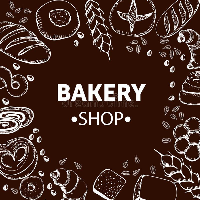Piekarni pojęcie z nakreślenie chlebem i ręka rysującą banatką na brown tło wektoru ilustraci ilustracja wektor