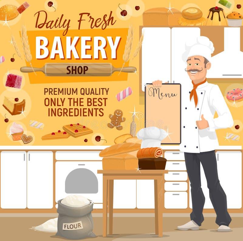 Piekarni sklep, piekarz, chleb i ciasto, royalty ilustracja