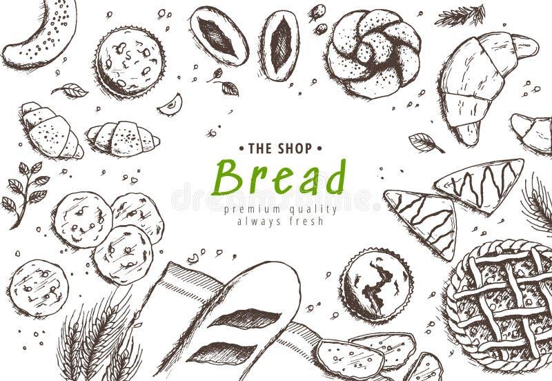 Piekarni tło Liniowa grafika Chleba, croissant i ciasta kolekcja, Chleba dom Grawerująca odgórnego widoku ilustracja ilustracja wektor