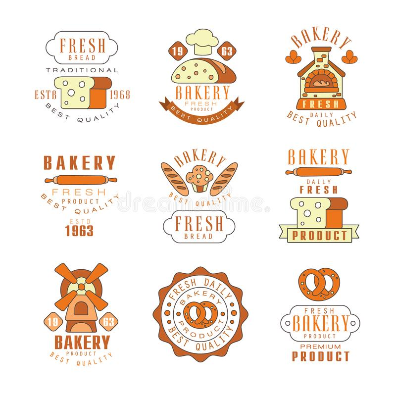 Piekarnia, świeżego chleba loga projekt, rocznik piekarni sklep, firma emblemata wektoru ilustracje ilustracja wektor