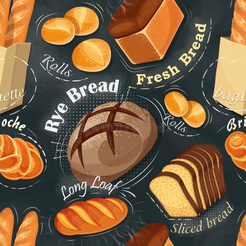 Piekarnia bezszwowy wzór Tęsk bochenek, żyto chleb, baguette ilustracji
