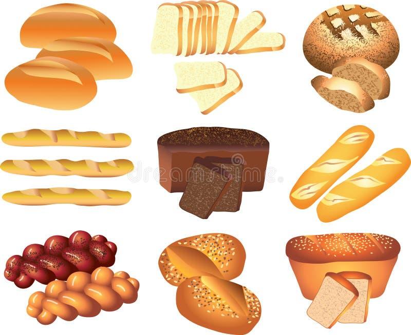 Piekarnia chleby ustawiający ilustracji