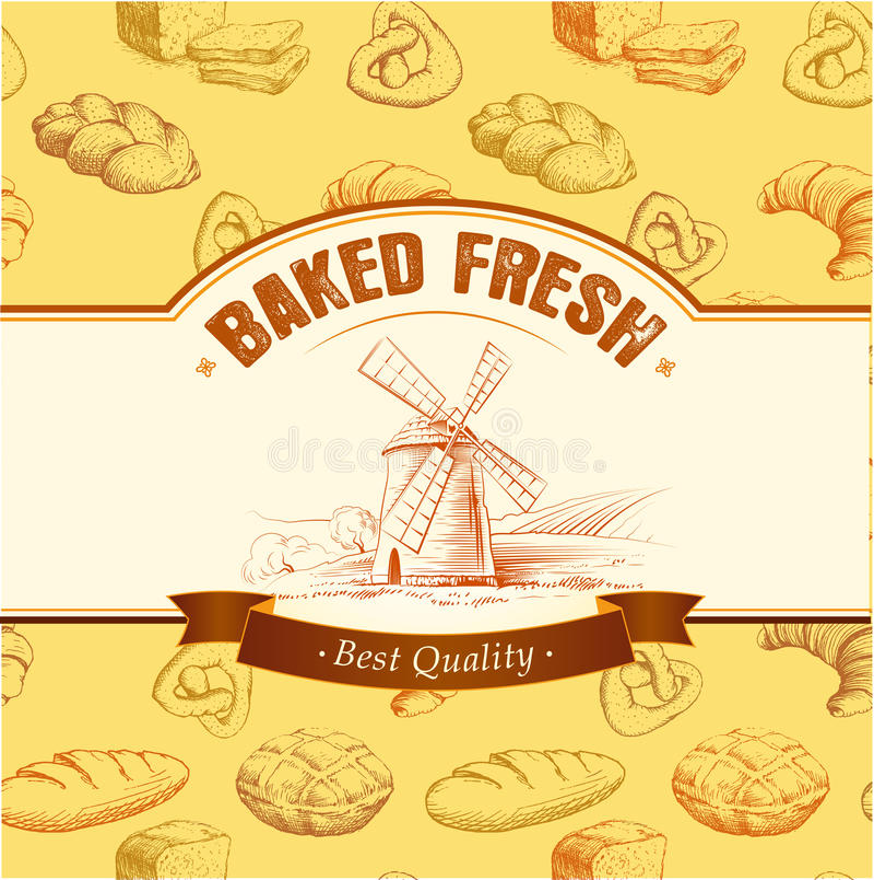 Piekarnia chleb Bezszwowy tło wzór etykietki pakują dla chleba, baguette, bochenek, tort, piec, croissant, babeczka royalty ilustracja
