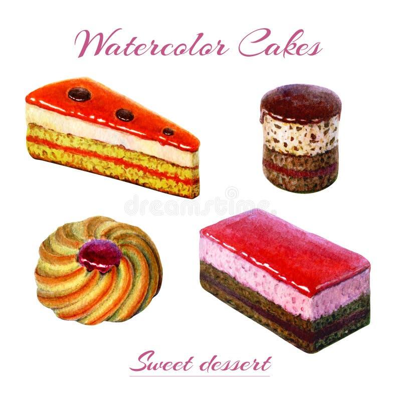 Piekarnia cukierki i Akwareli ilustracja torty i ciastko słodcy i wyśmienicie Akwarela czekoladowy tort ilustracja wektor