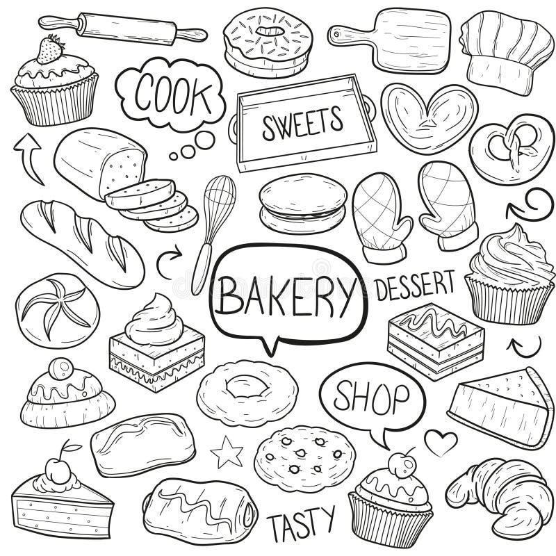 Piekarnia desery i cukierki Gotują wyposażenia Doodle ikon Tradycyjnego nakreślenia projekta Ręcznie Robiony wektor ilustracja wektor
