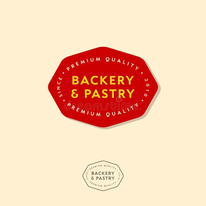 Piekarnia emblematy, piekarnia logo Literowanie i inskrypcje w czerwonej odznace ilustracji