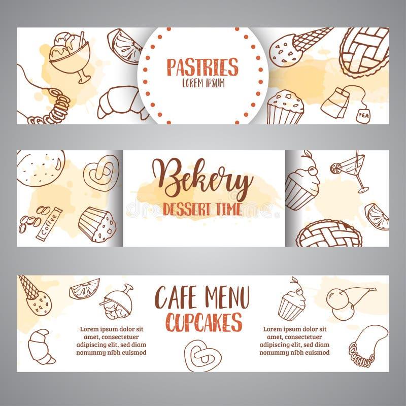 Piekarnia horyzontalni sztandary z ciastami Słodki ciasto, babeczki, deserowi plakaty z czekoladowym tortem, cukierki kremy szysz royalty ilustracja