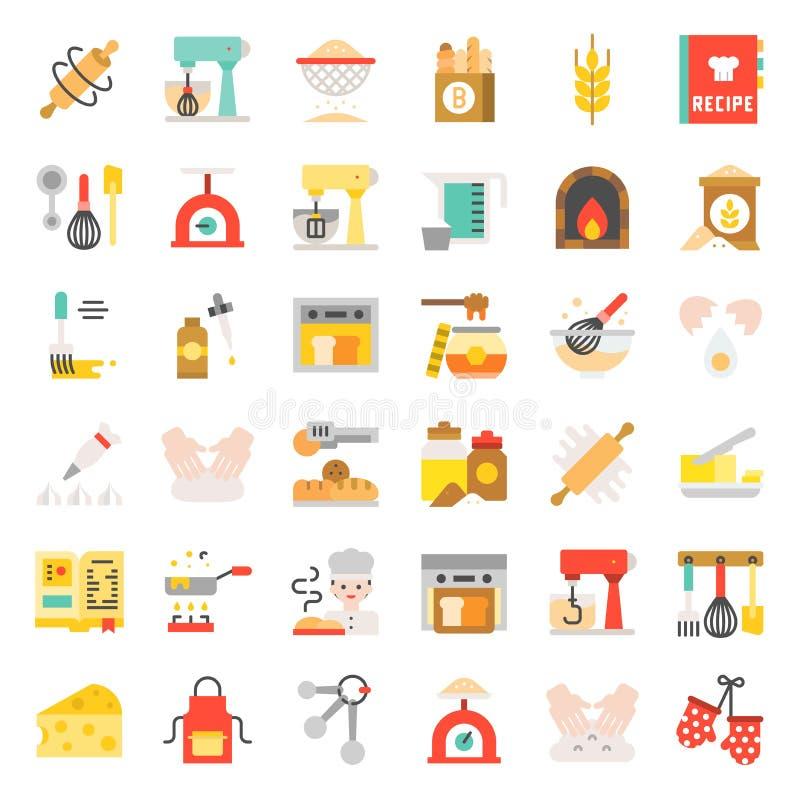 Piekarnia i ciasto sklep odnosić sie płaskiego projekt ikony set royalty ilustracja