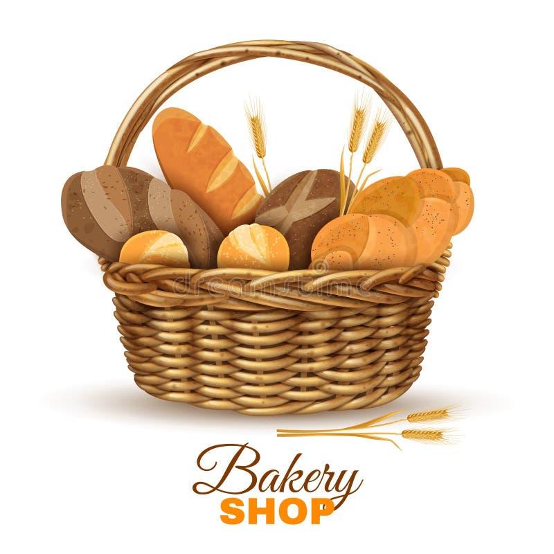 Piekarnia kosz Z Chlebowym Realistycznym wizerunkiem royalty ilustracja