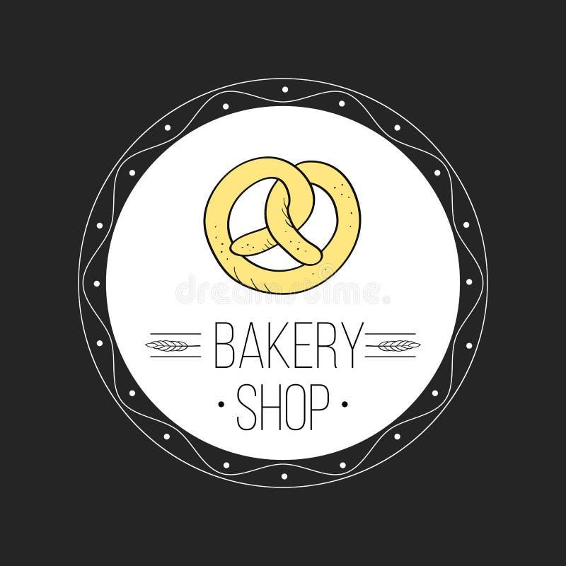 Piekarnia loga i chleba loga etykietek sklepowy projekt dla cukierków, tort, royalty ilustracja