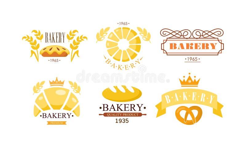 Piekarnia loga set, bakehouse retro odznaki piekarni świezi produkty i ciasto wektorowa ilustracja na białym tle, ilustracja wektor