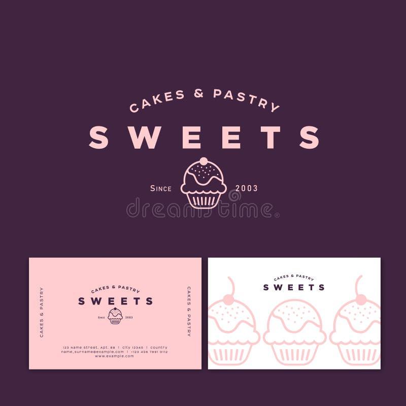 Piekarnia logo Cukierków torty i ciasto emblemat Piekarni i kawiarni logo ilustracja wektor