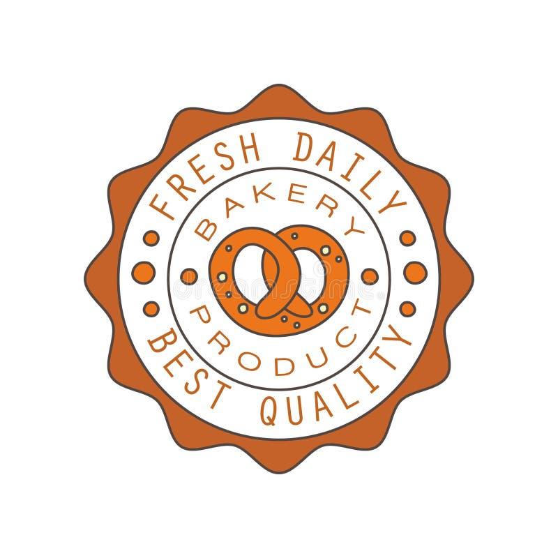 Piekarnia produkt, najlepszy ilość, świeży dzienny logo, chleb sklepowej round odznaki etykietki projekta wektoru retro karmowa i ilustracja wektor