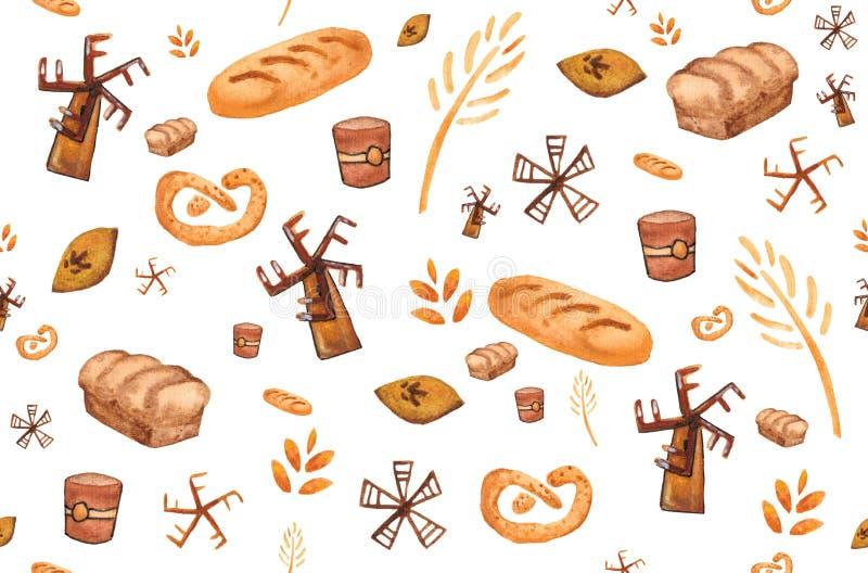 Piekarnia produkty, piec druk Ciasto bezszwowy wz?r Śliczny kuchenny tło ilustracja wektor