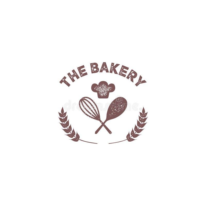 Piekarnia rocznika odznaki emblemata logo z fertaniem i szefa kuchni kapeluszu ikoną royalty ilustracja