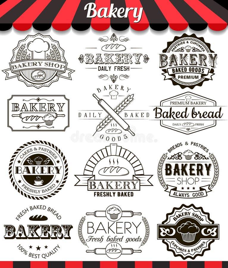 Piekarnia rocznika projekta elementy i odznaki ustawiający Kolekcja znaki, symbole i ikony wektory piec towarowi, ilustracji