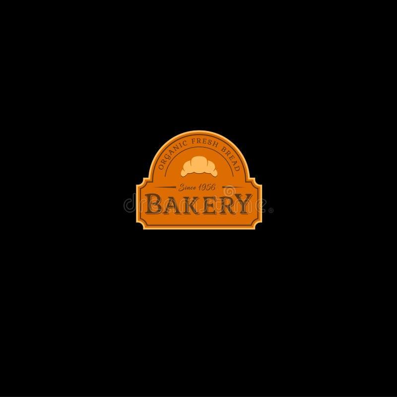 Piekarnia rocznika signboard lub logo Świeżego chleba sklep Listy i croissants w pomarańcze formie royalty ilustracja
