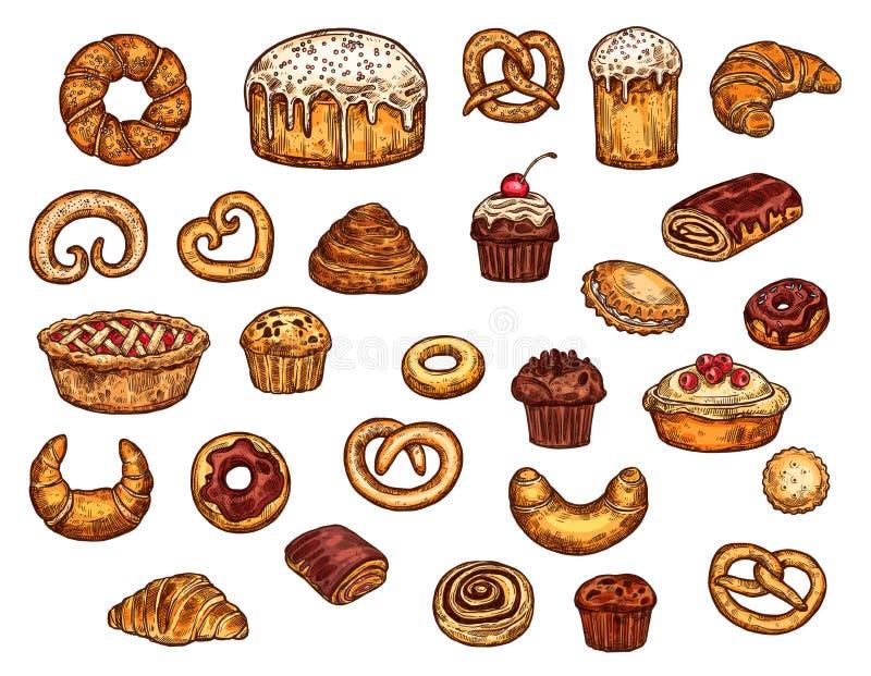 Piekarnia sklepowi cukierki, torty i ciasto, ilustracji
