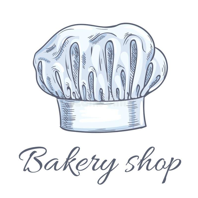 Piekarnia sklepowy emblemat piekarniany szefa kuchni toque kapelusz ilustracji