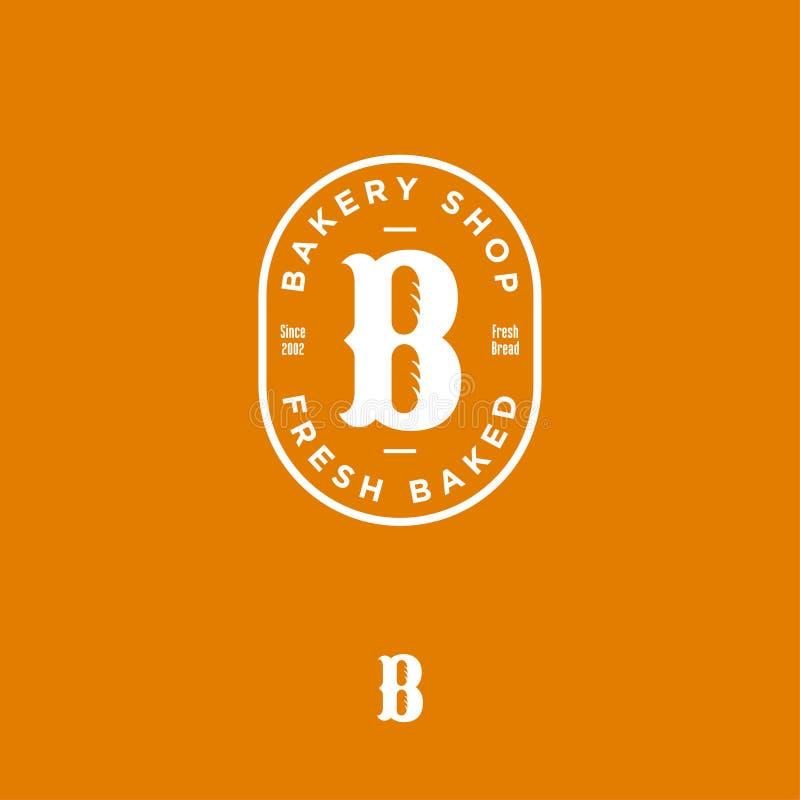 Piekarnia sklepowy logo B monogram Świeży piec emblemat Listowy b z babeczkami w elipsie ilustracji