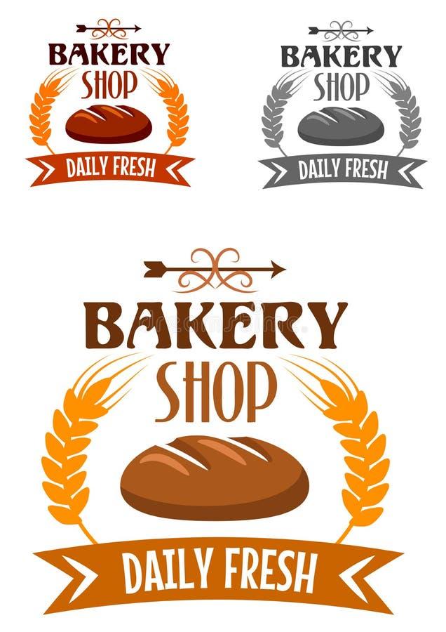 Piekarnia sklepowy logo z świeżym chlebem ilustracja wektor